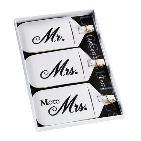 White Mr. and Mrs. Luggage Tags