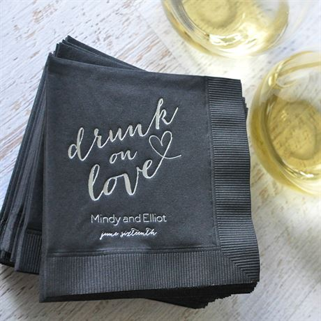 Drunk on Love - White - Foil Cocktail Napkin