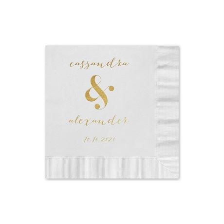 Modern Glow - White - Foil Cocktail Napkin