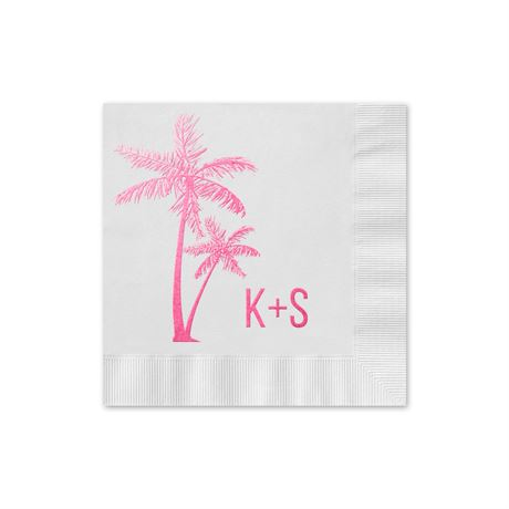 Palm Trees - White - Foil Cocktail Napkin