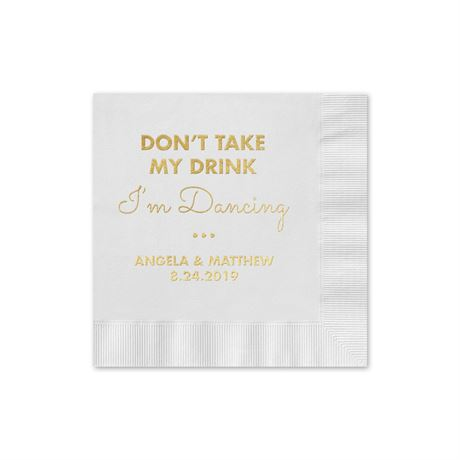 Busy Dancing - White - Foil Cocktail Napkin