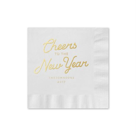 Cheers - White - Holiday Beverage Napkin