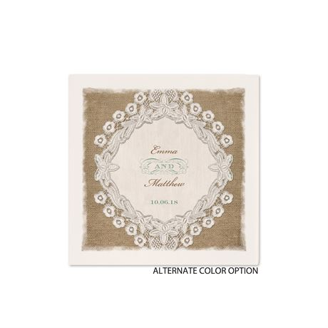 Embroidered Embrace - Ecru Cocktail Napkin