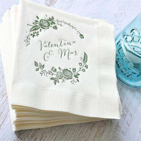 Roses and Whimsy - Ecru - Foil Cocktail Napkin