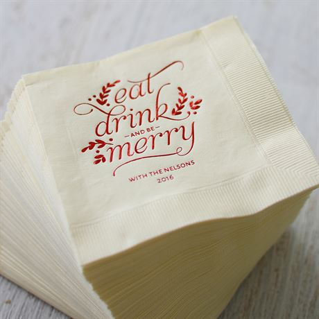 Eat, Drink, Merry - Red - Holiday Beverage Napkin