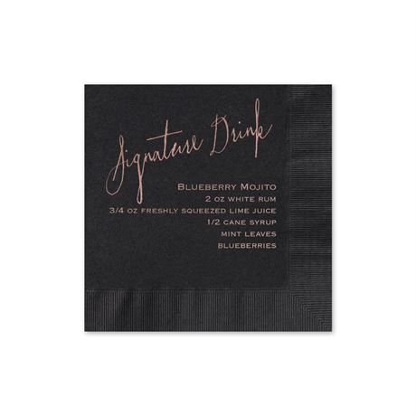 Signature Drink - Black - Foil Cocktail Napkin