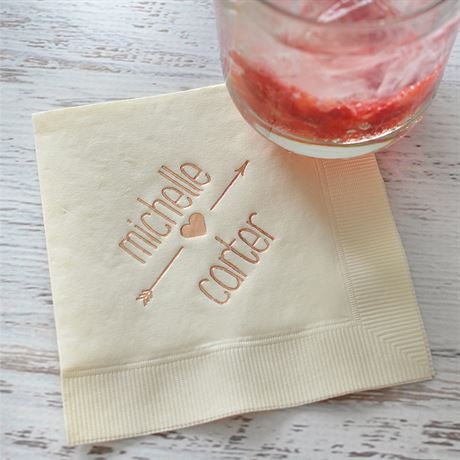 Heart and Arrow - Black - Foil Cocktail Napkin