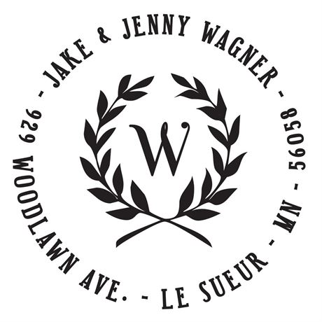 Leaf Crest Address Stamp