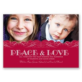 Peace and Love - Photo Holiday Card Classic