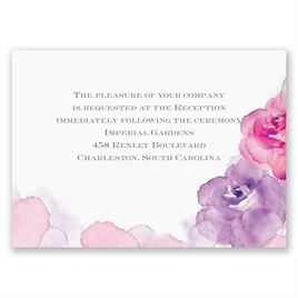 Watercolor Roses - Purple - Reception Card