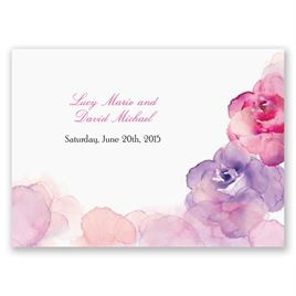 Watercolor Roses - Purple - Response Postcard