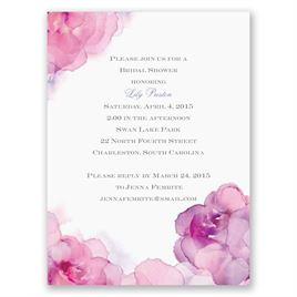 Watercolor Roses - Purple - Petite Bridal Shower Invitation