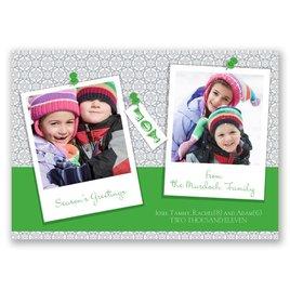 Snapshots - Green Photo Holiday Card