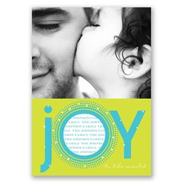 Joyful - Blue Photo Holiday Card