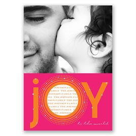 Joyful - Orange Photo Holiday Card