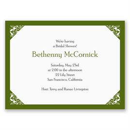 Damask Corners - Green - Petite Bridal Shower Invitation