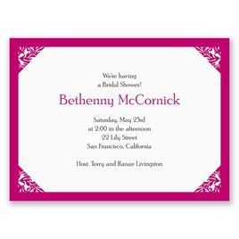 Damask Corners - Fuchsia - Petite Bridal Shower Invitation