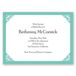 Damask Corners - Aqua - Petite Bridal Shower Invitation