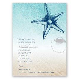 Beach Romance - Sterling - Petite Bridal Shower Invitation