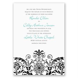 Vintage Damask - Black - Invitation