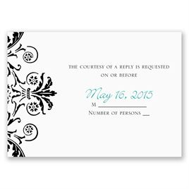 Vintage Damask - Black - Response Card and Envelope