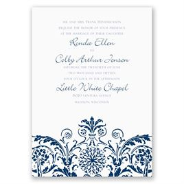 Vintage Damask - Navy - Invitation