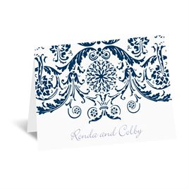 Vintage Damask - Navy - Thank You Card and Envelope