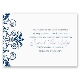 Vintage Damask - Navy - Reception Card