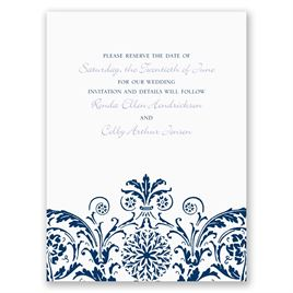 Vintage Damask - Navy - Save the Date Card
