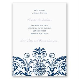 Vintage Damask - Navy - Petite Bridal Shower Invitation