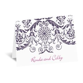 Vintage Damask - Purple - Thank You Card and Envelope