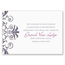 Vintage Damask - Purple - Reception Card