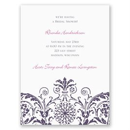 Vintage Damask - Purple - Petite Bridal Shower Invitation