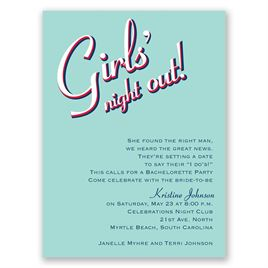 Night Out - Aqua - Bachelorette Party Invitation
