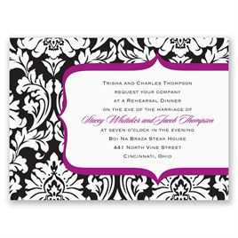 Damask Crest- Purple - Petite Rehearsal Dinner Invitation