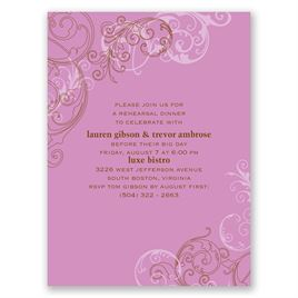 Sassy Swirls - Purple - Petite Rehearsal Dinner Invitation
