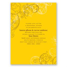 Sassy Swirls - Yellow - Petite Rehearsal Dinner Invitation