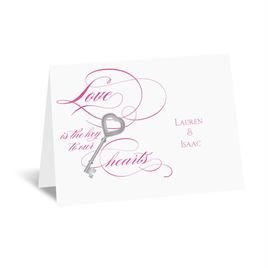 Key to Love - Fuchsia - Thank You Card and Envelope