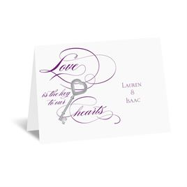 Key to Love - Purple - Thank You Card and Envelope