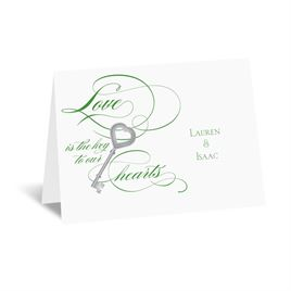 Key to Love - Green - Thank You Card and Envelope
