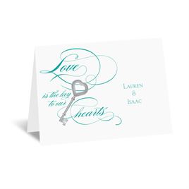 Key to Love - Teal - Thank You Card and Envelope