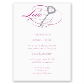 Key to Love - Fuchsia - Petite Bridal Shower Invitation