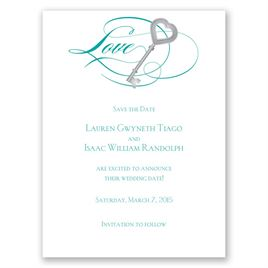 Key to Love - Teal - Save the Date Card