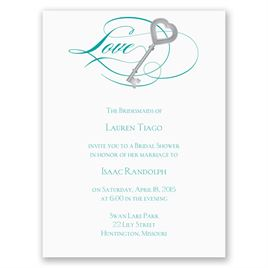 Key to Love - Teal - Petite Bridal Shower Invitation