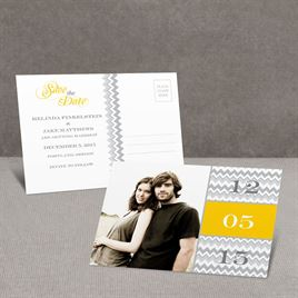 Chic Chevron - Yellow - Save the Date Postcard