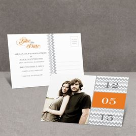Chic Chevron - Orange - Save the Date Postcard