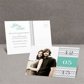 Chic Chevron - Aqua - Save the Date Postcard