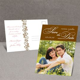 Scripted - Brown - Save the Date Postcard