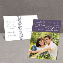 Scripted - Purple - Save the Date Postcard
