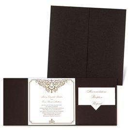 Flourishing Border - Brown Shimmer - Pocket Invitation